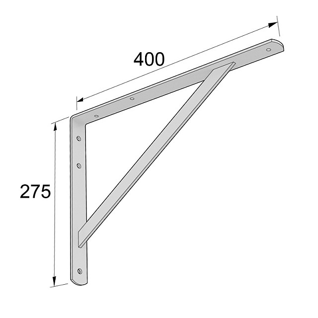 HEAVY DUTY SHELF BRACKET 400x275mm/225kg  WHITE